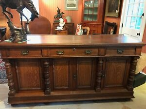 Antique Oak Counter Oak Bar Vintage Sideboard Cabinet