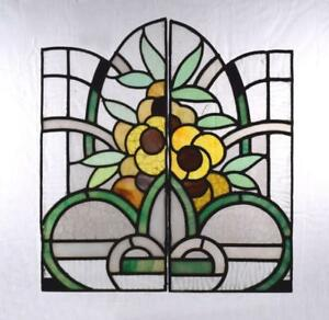Vintage Pair Of French Stained Leaded Glass Panels With Art Deco Flowers