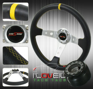 350mm Interior Dress Up Combo Steering Wheel Hub Adapter Godsnow Horn Button