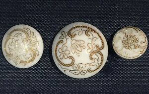 3 Antique Glass Buttons Victorian Period