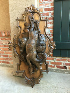 Large Antique Carved Wood Black Forest Hunt Wall Plaque Stag Deer Fowl Lodge