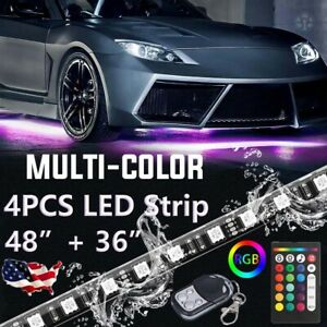2x48 2x36 Car Under Tube Led Light Strip Underbody Underglow Neon Bar Brake