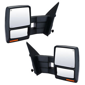 Pair Towing Mirrors For 2007 2014 Ford F 150 Power Heated Signal Puddle Light