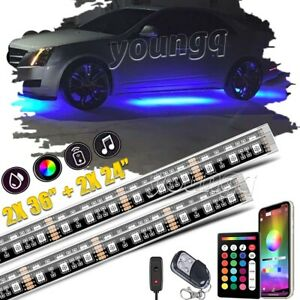 4x Light Kit Under Strip 252 Led Car Underglow Underbody System Neon Accent Bar