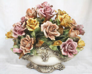 Antique Porcelain Still Life Flower Bouquet Pastel Capodimonte