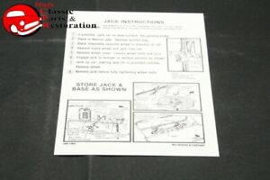 67 Belvedere Coronet Charger Jack Instructions Decal Mopar Part 2461136g