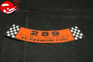 64 66 Mustang Fairlane 289 4bbl Air Cleaner Decal Ford Part C50f 9638 D