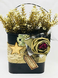 Country Primitive Farmhouse Decorated Bucket All That We Love Cream Astilbe