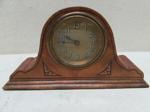 Vintage Miniature Lux Waterbury Deco Inlaid Wood Desk Mantle Clock Wind Up