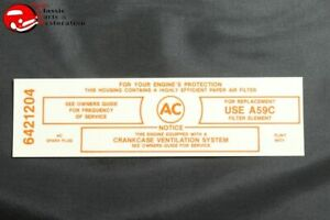 65 Pontiac 389 421 Police 3x2 Air Cleaner Service Instructions Decal 6421204