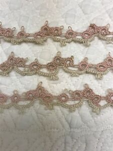 Vintage Cotton Tatted Lace Trim Pink Ecru For Dolls Bears Crafts 2 Yards 2 Feet