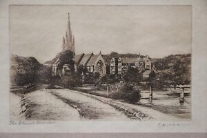 Original Antique Etching The Church Framed Print 1915 Signed Dickens Gothic