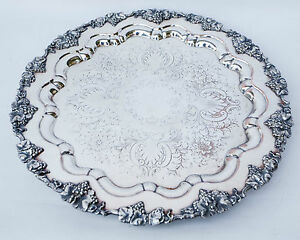 Antique Huge 21 Barbour Silver Co Silverplated Ornate Plate Tray Circa 1892