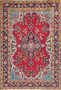One Of A Kind Geometric Red Turquoise Persian Oriental Hand Knotted 4x6 Wool Rug