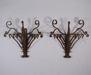 Large Pair Of French Antique Wrought Iron Primitive Wall Sconces