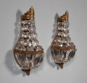 Vintage Pair Of Bronze Cut Glass Wall Sconces Lamps
