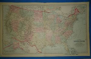Vintage 1883 Western Territories United States Map Old Antique Original Ow Gray