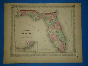 Vintage 1868 Florida Map Old Antique Original Johnson S Atlas
