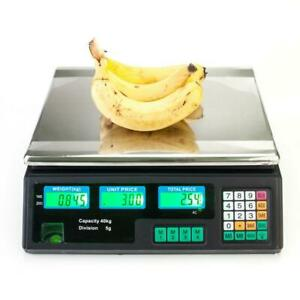 88lb Lcd Digital Weight Scale Price Computing Food Meat Produce Deli Market Us