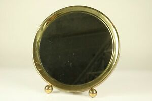Art Deco Table Stand Or Wall Mirror Brass Ball Feet 10 1 2 Vtg 40 S 50 S