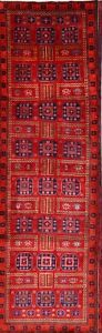 Excellent Palace Sized Geometric Red Runner 4x13 Ardebil Persian Oriental Rug