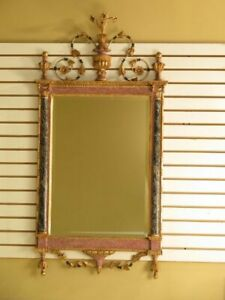 40573e Stunning Paint Decorated Gold Italian Mirror