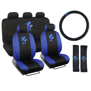 Blue Jumping Dolphins Black Car Front Back Seat Covers Steering Wheel Cover Set