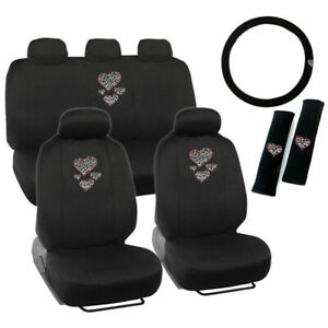 Hearts Cheetah Logo Black Front Back Car Seat Covers Steering Wheel Cover Set