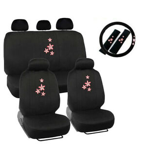 New Pink Flowers Logo Black Front Back Car Seat Covers Steering Wheel Cover Set