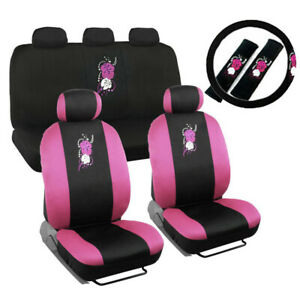 New Pink Hawaiian Flowers Front Back Car Seat Covers Steering Wheel Cover Set