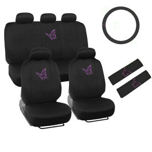 Purple Butterfly Logo Black Front Back Car Seat Covers Steering Wheel Cover Set