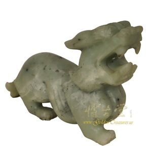 Vintage Chinese Carved Jade Dragon Statue