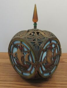 Antique Painted Bronze Blue Slag Glass Cube Square Light Lamp Fixture Shade Ship