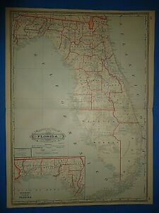Vintage 1886 Railroad County Atlas Map Of Florida Old Antique Original