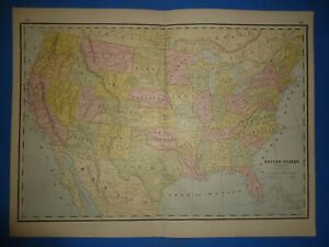 Vintage 1886 Map The United States Territories Old Antique Original Atlas Map