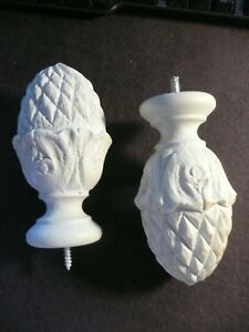 Large Wooden Handcarved Pine Cone Finials 1 Pair