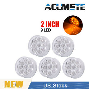 5pcs 2 Inch Amber 9 Led Round Clearance Side Marker Lights Truck Trailer Lamp