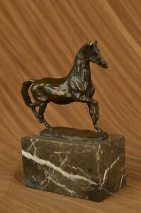 Galloping Horse Bronze Marble Statue Figurine Art Deco Marble Figurine By Barye