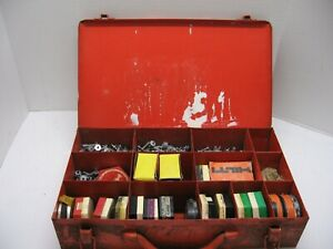 Vintage Hilti Fastening Supply Kit Metal Tool Box Fasteners Safety Boosters Nail