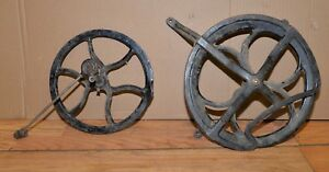 2 Antique Cast Iron Fly Wheel Lathe Lamp Steam Punk Repurpose Industrial Lot