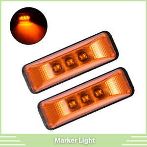 2 3 Led Amber 3 9 Rectangle Side Marker Lights Clearance Lamps Truck Trailer