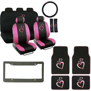 Graphic Pink Hearts Logo Black Car Seat Covers Floor Mat Steering Wheel Cover