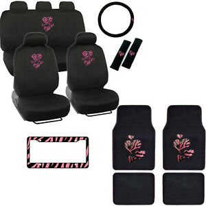 Heart Pink Zebra Stripes Black Car Seat Covers Floor Mats Steering Wheel Cover