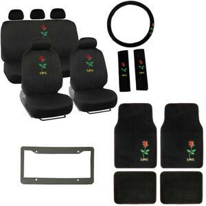 New Love Red Rose Black Car Seat Covers Floor Mats Steering Wheel Cover Set
