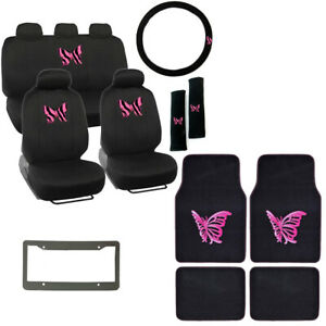 Pink Butterfly Zebra Stripes Car Seat Covers Floor Mats Steering Wheel Cover