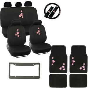 Pink Flowers Logo Black Car Seat Covers Floor Mats Steering Wheel Cover Set