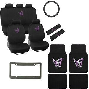 Purple Butterfly Logo Black Car Seat Covers Floor Mats Steering Wheel Cover Set