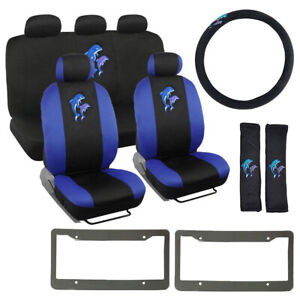 14pc Blue Jumping Dolphins Black Car Front Back Seat Covers Steering Wheel Cover