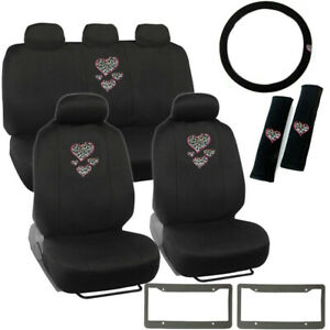 14pc Hearts Cheetah Logo Black Car Front Back Seat Covers Steering Wheel Cover