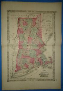 Vintage 1864 Southern New England Map Old Antique Original Johnson S Atlas